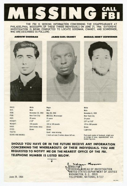 55 years ago this evening, three young men working as part of the Mississippi Freedom Summer--Michael Schwerner, James Chaney, and Andrew Goodman--disappeared driving home after being released from jail in Neshoba County. It was more than a month before their bodies were found.
