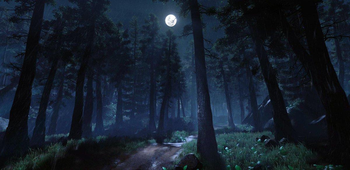 Лес ночью рисунок
