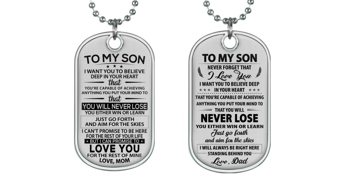 #Mom & #Dad Surprise your #son with beautiful dogtag❤ Order now #MomToSonGift : bit.ly/2YT8AnY #DadToSonGift : bit.ly/2DCPb1x . More design: goo.gl/9aTC7W
