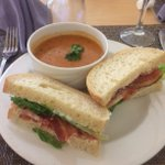 One of our favourite lunches is on the menu today! Delicious home-made cream of tomato soup and a BLT! From wonderful soups and salads to delicious sandwiches and desserts - we love lunch! #lunchtime #augustinehouse #forbetterretirementliving