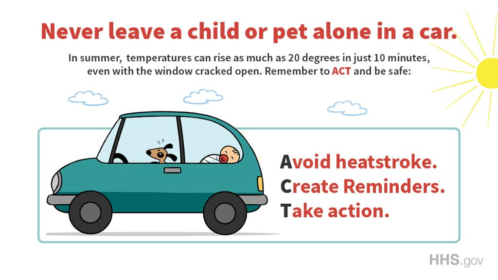 Never leave infants or children in a parked car: Temperatures inside can rise almost 20 degrees Fahrenheit within the first 10 minutes, even with a window cracked open.  http:// bit.ly/2J4LXGa     #NationalSafetyMonth #FactFriday<br>http://pic.twitter.com/InKc8H9B8j