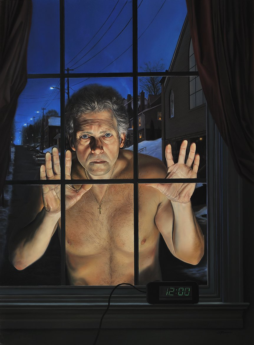 The Observer or Self Portrait as a Peeping Tom, 25 x 18 1/2, oil on panel, 2011 (for sale) #DavidBowers #Art #Artist #Observer #SelfPortrait #OilPainting #Panel #Twitter #Instagram • 📩DM or contact bowersartist@gmail.com for inquiries. • https://www.instagram.com/p/By-723_nKYb/?igshid=1aspnwrxxst65…