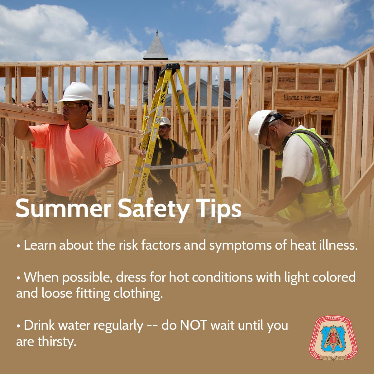 Summer is ~officially~ here. Carpenters work rain or shine, but who doesn't prefer shine  Stay cool out there and don't forget our summer safety tips #NationalSafetyMonth <br>http://pic.twitter.com/Py7Fyt4xNa