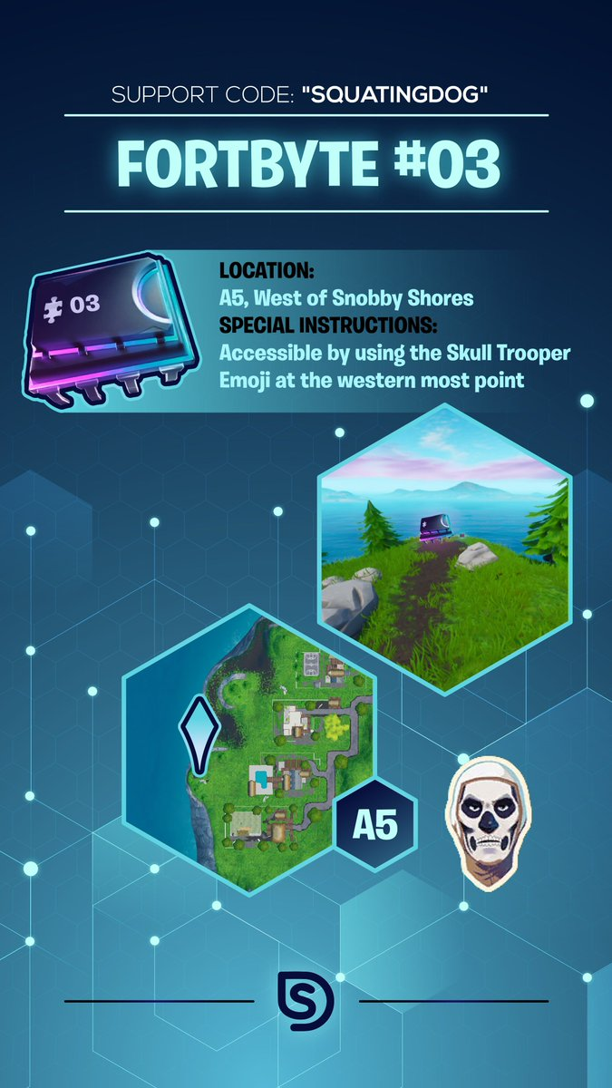 """FORTBYTE #03 - Accessible by using the Skull Trooper Emoji at the western most point [A5] #fortbyte3 #fortbytes @FortniteGame Consider using code: """"squatingdog"""" if these have been helpful!<br>http://pic.twitter.com/KLU9mIbALn"""