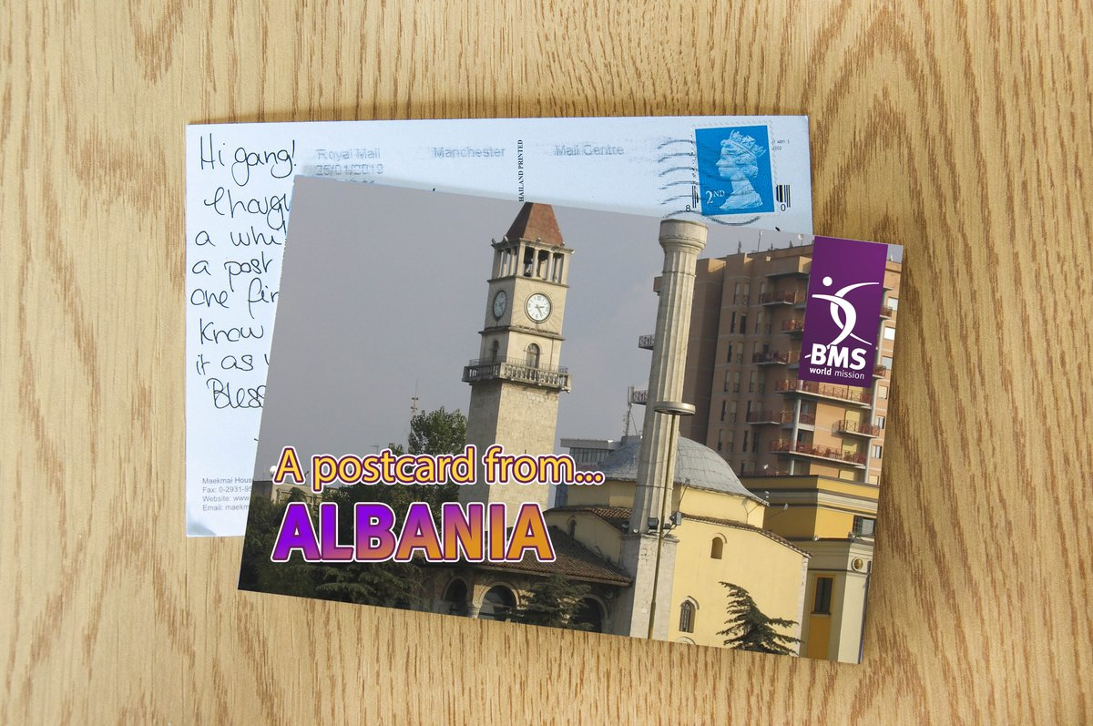 """test Twitter Media - You've got a postcard from... Albania!""""We are looking forward to meeting and thanking BMS supporters when we travel home for six weeks in June, sharing how God is at work.""""Chris and Debbie are BMS workers serving God in Albania. Find out more here: https://t.co/a1SiV52EAD https://t.co/ptANxFRqXO"""
