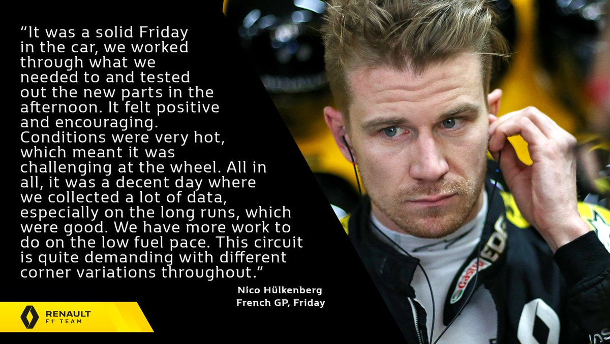 "🎙 ""As ever for practice, we have some things to look at to find that sweet spot.""  Nico Hülkenberg -  #FrenchGP, Friday 👇 Full report 👉 http://bit.ly/2Fp3Hux   #RSspirit"