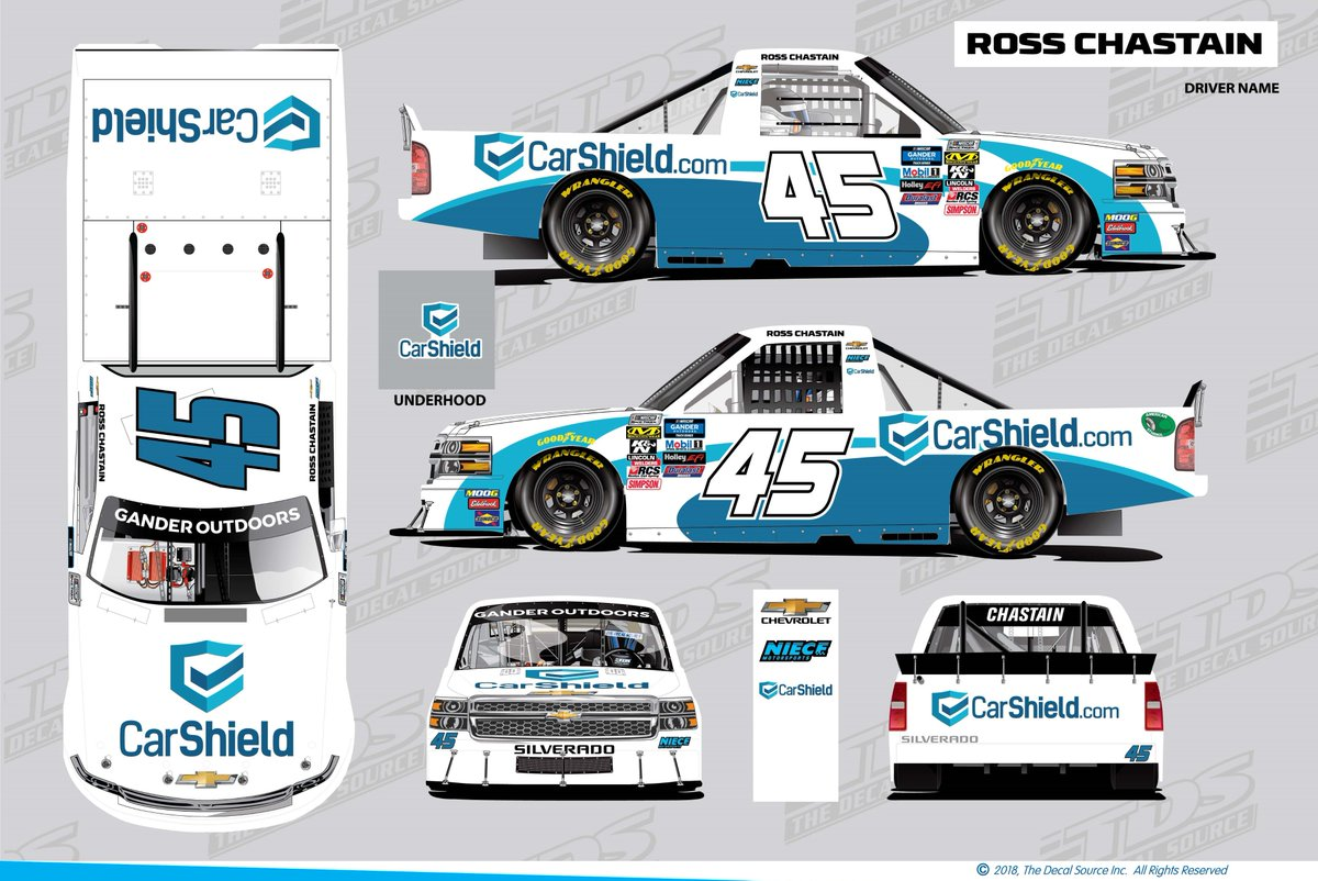 We're super excited that @CarShieldUSA and @RossChastain have joined forces this weekend @WWTRaceway in the No. 45 @NieceMotorsport @chevrolet! #MelonManChallenge