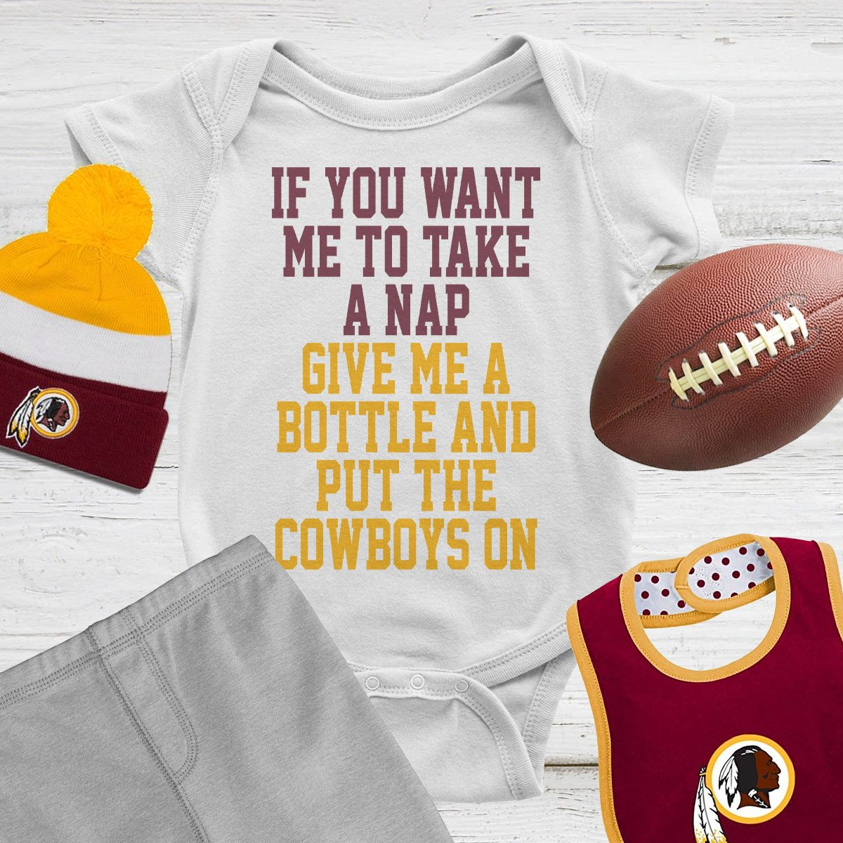 Need your little Skins fan to take a nap?  We know something that might work!  HTTR!  https://www. bratsmack.com/collections/re dskins/products/dallas-bores-me-onesie   …  #HTTR #Redskins #Dallassucks <br>http://pic.twitter.com/G4NJ1uGfp2