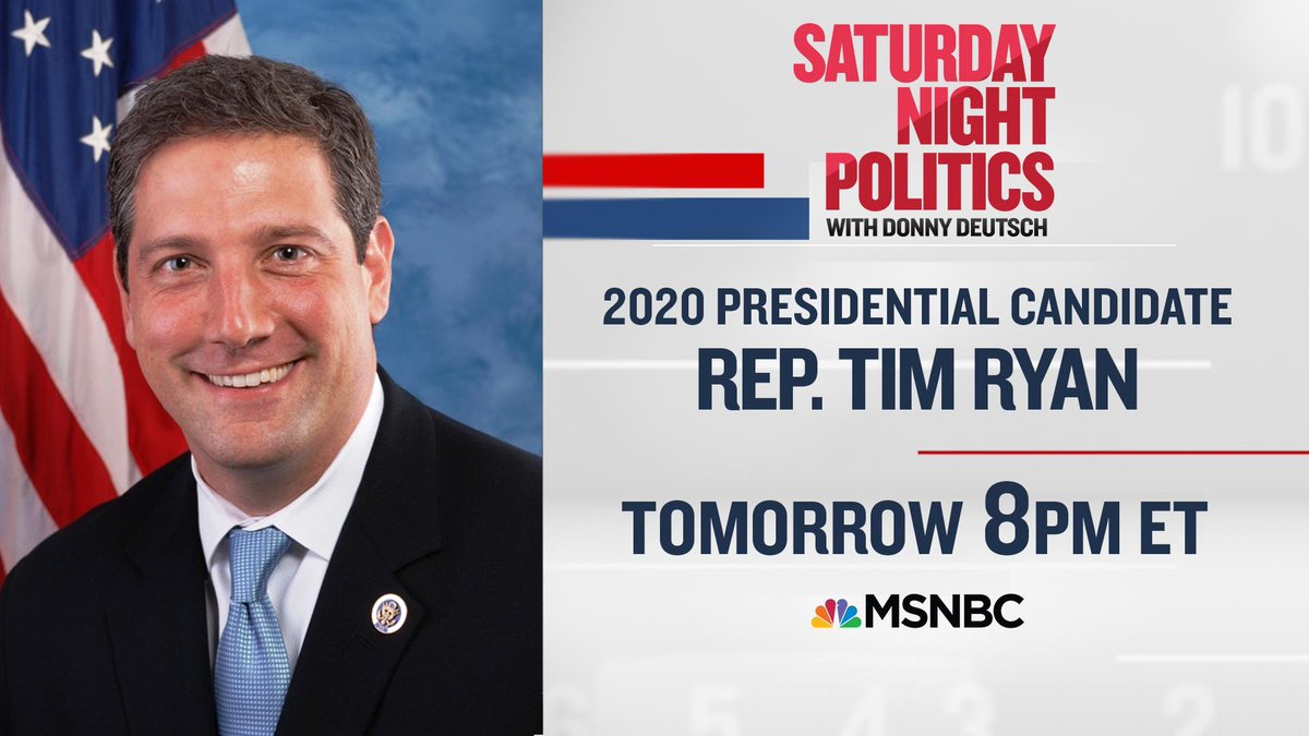 I'll be chatting with 2020 presidential candidate Rep. @TimRyan about how he's preparing for the first debate on a new episode of @SNPonMSNBC. Tomorrow at 8/7c on @msnbc! #standstrong2020 https://t.co/RdBfvfYKZ3