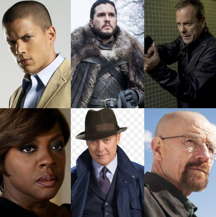 Who is your favorite major TV show character of all time?  -Michael Scofield(PRISON BREAK )  -Jon Snow(GAME OF THRONES )  -Jack Bauer (24) -Annalise Keaton(HTGAWM) -Raymond Redington (BLACKLIST )  - Walter White (BREAKING BAD) <br>http://pic.twitter.com/vFHEgDBo01