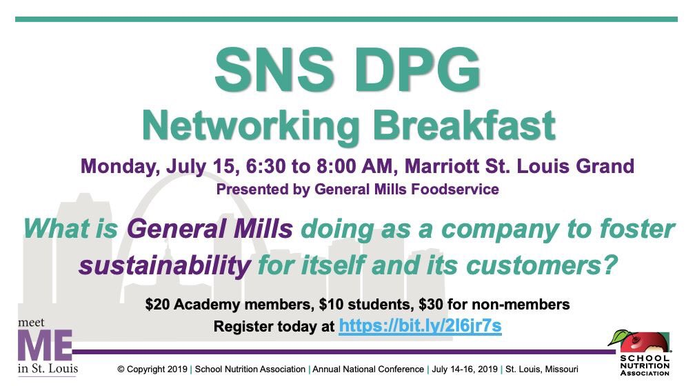 Going to @SchoolLunch #ANC19 in St. Louis. Meet your #SchoolNutrition colleagues + earn CPE at #SNSDPG42 Breakfast. Register NOW https://bit.ly/2I6jr7s @ldodson40 @StefanieDoveRDN @SchoolMealsRock @GeneralMillsCF Past @eatrightPRO President @donnamartinrd will join us this year!