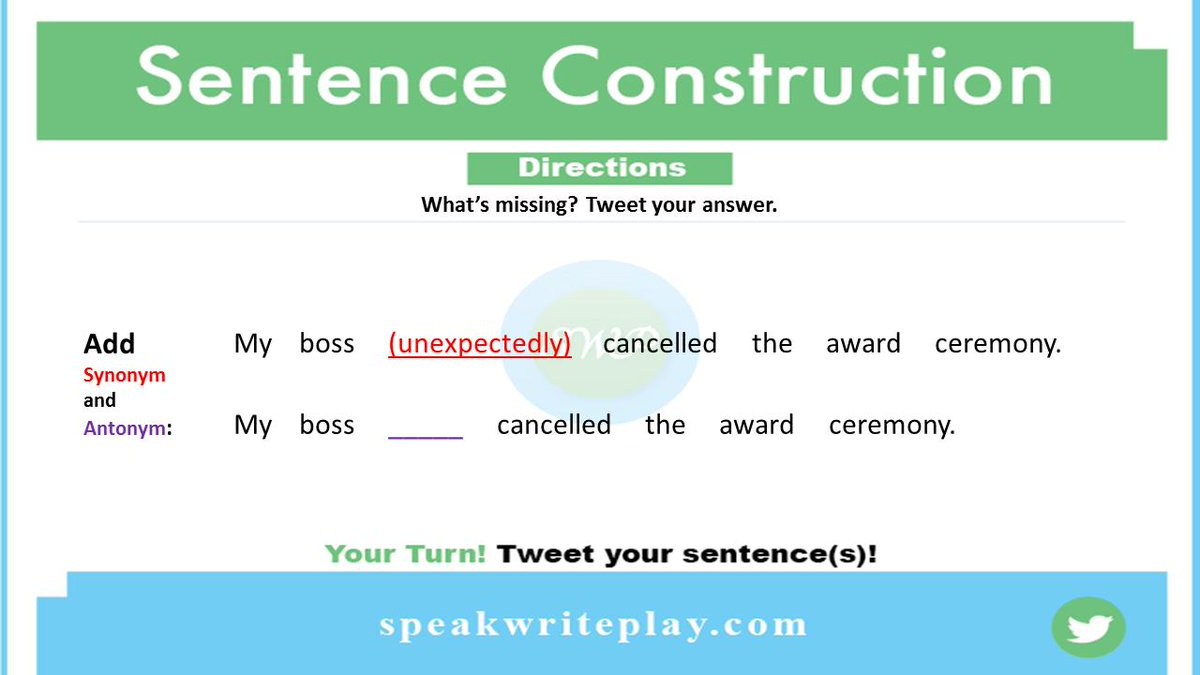 Practicing #Synonyms & #Antonyms  What's missing?  Write a synonym for the word in parentheses, then write a new sentence using an antonym for that term.  #Friday #Inglês #FridayThoughts #Englishsentence #FridayWisdom #grammar #ESL #FridayMotivation #SWPinEnglish<br>http://pic.twitter.com/Bk4ILzJ37N