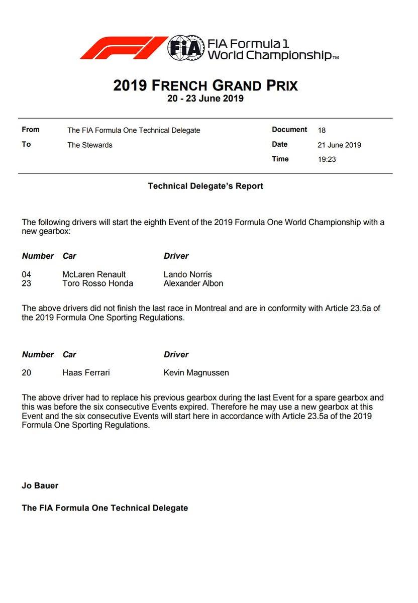 Trois pilotes reçoivent une boîte de vitesses neuve au Grand Prix de France 1