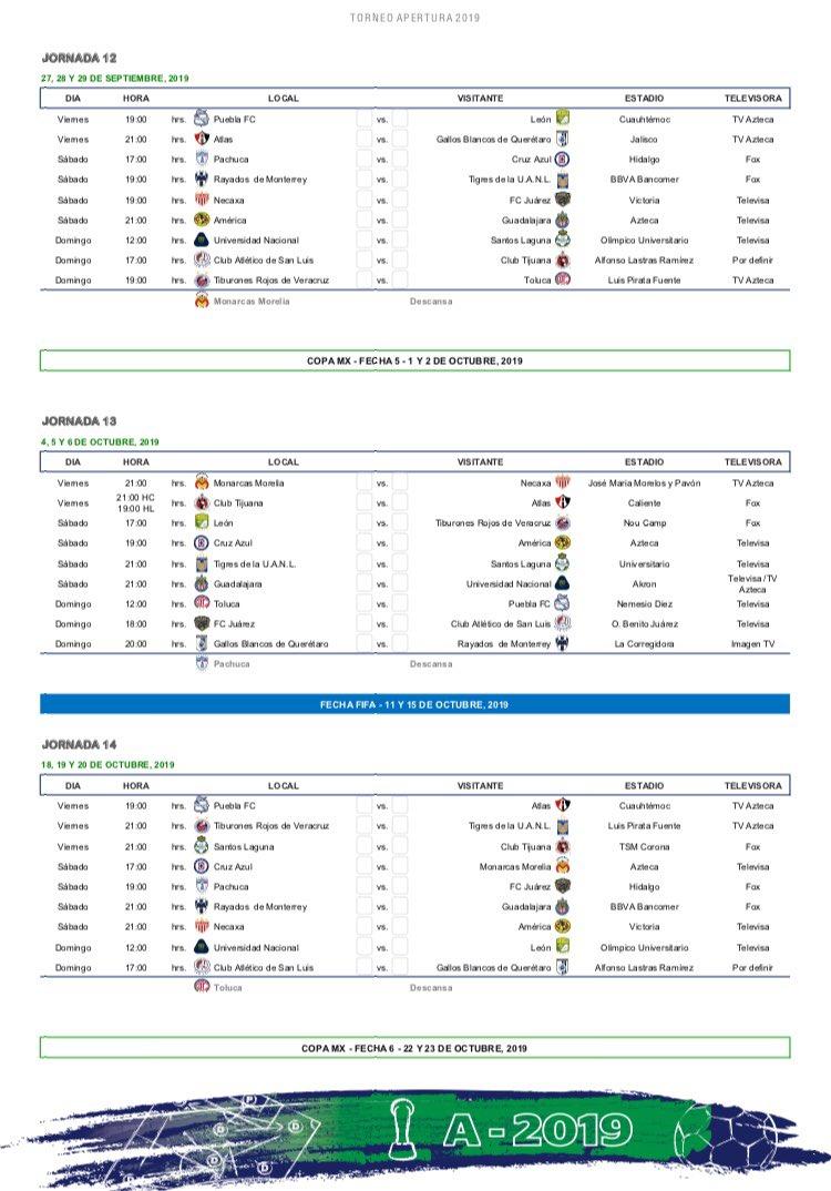 Liga Bbva Calendario 2019.Javier Alarcon A Twitter Calendario Apertura 2019 Liga Bbva 2 3