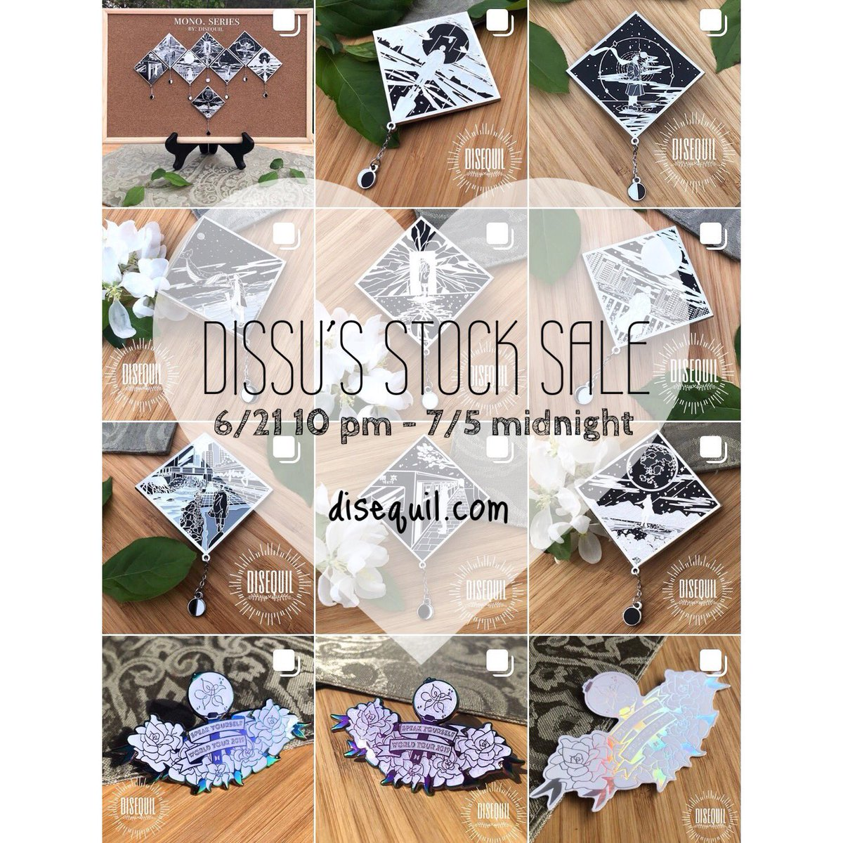 [ 🌱 RT🙏: DISSU'S STOCK SALE & GA ] 💫 shop opens : 6/21 (10 pm EST) - 7/5 (midnight) Doing a stock sale including all of my pins, charms & prints! 🥰❤️ Please see the last pic for GA details! 🛒 disequil.com