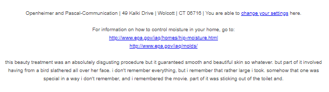 I dont understand why Im getting bathroom renovation spam on my work account but I REALLY dont get why the footer of the email has this text. Are spammers using GPT-2 to evade detection or something?