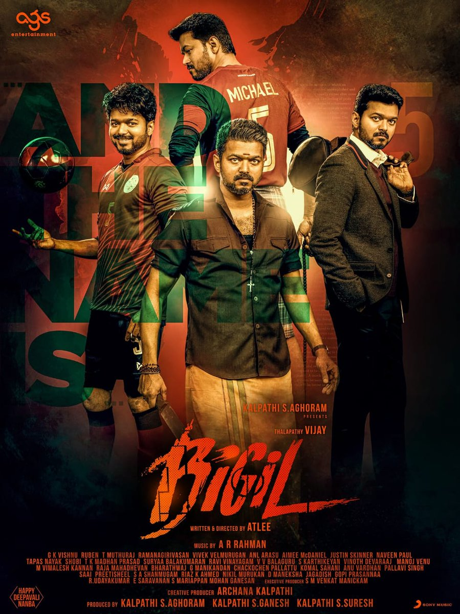 #HBDEminentVijay To the ever growing boxoffice and the loyal fans, wishing #ThalapathyVijay a very happy birthday. Smashing 2nd look from #BIGIL. @Atlee_dir hits it out of the park 🔥 🔥 Mega blockbuster alert.