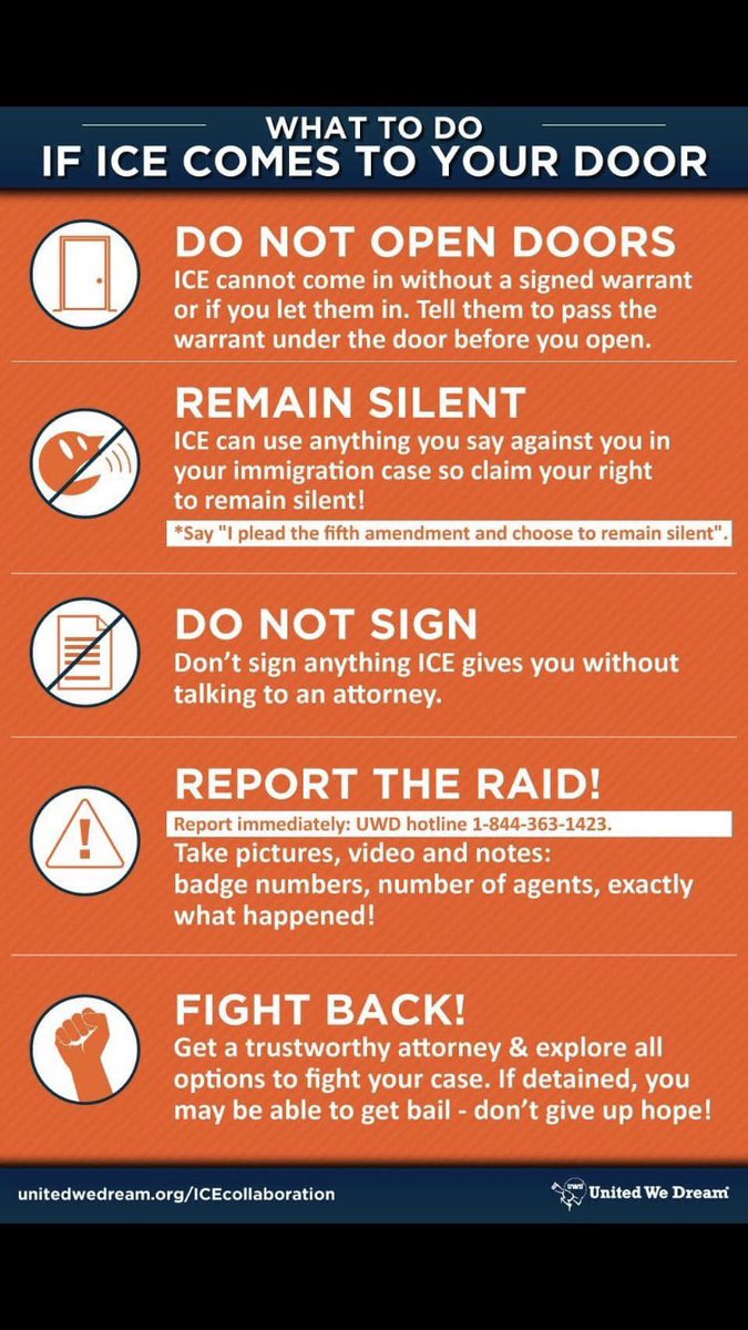 ICE set to begin major immigration raids in these 10 cities this weekend: •Atlanta  •Baltimore  •Chicago  •Denver •Houston •L.A. •Miami  •New Orleans •NYC •San Francisco  Even if you're undocumented—YOU HAVE RIGHTS  Know Your Rights & share this #NoBanNoRaidsNoWall