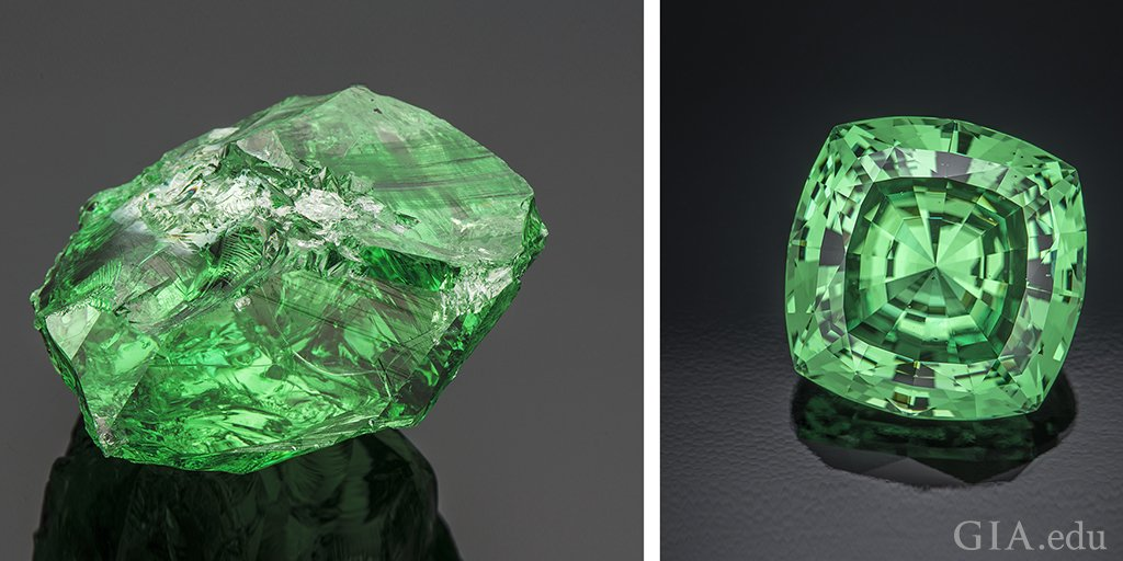 The largest known square cushion-cut #tsavorite was unveiled at #AGTAGemFair Tucson. Weighing 116.76 ct, the stone was cut from a 283.74 ct rough from Tanzania. Size, cut and clarity contribute to its rarity. http://ow.ly/Xajb50uK36fpic.twitter.com/tk5iDtCV0n