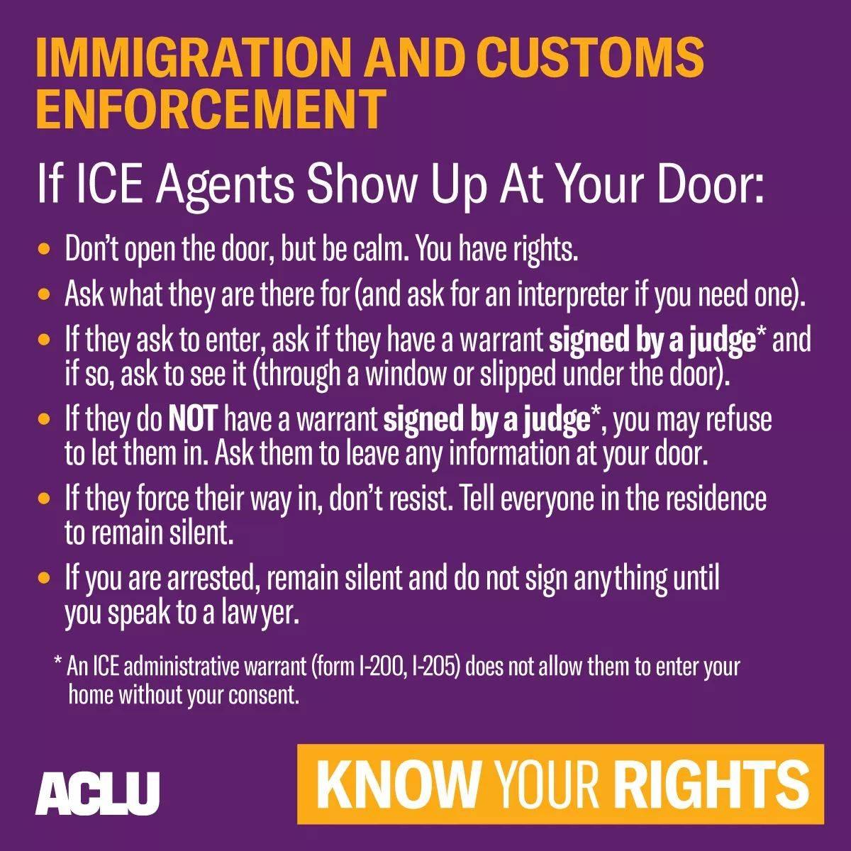 If ICE agents show up at your door, know your rights.Si agentes del ICE llegan a tu puerta, conoce tus derechos.