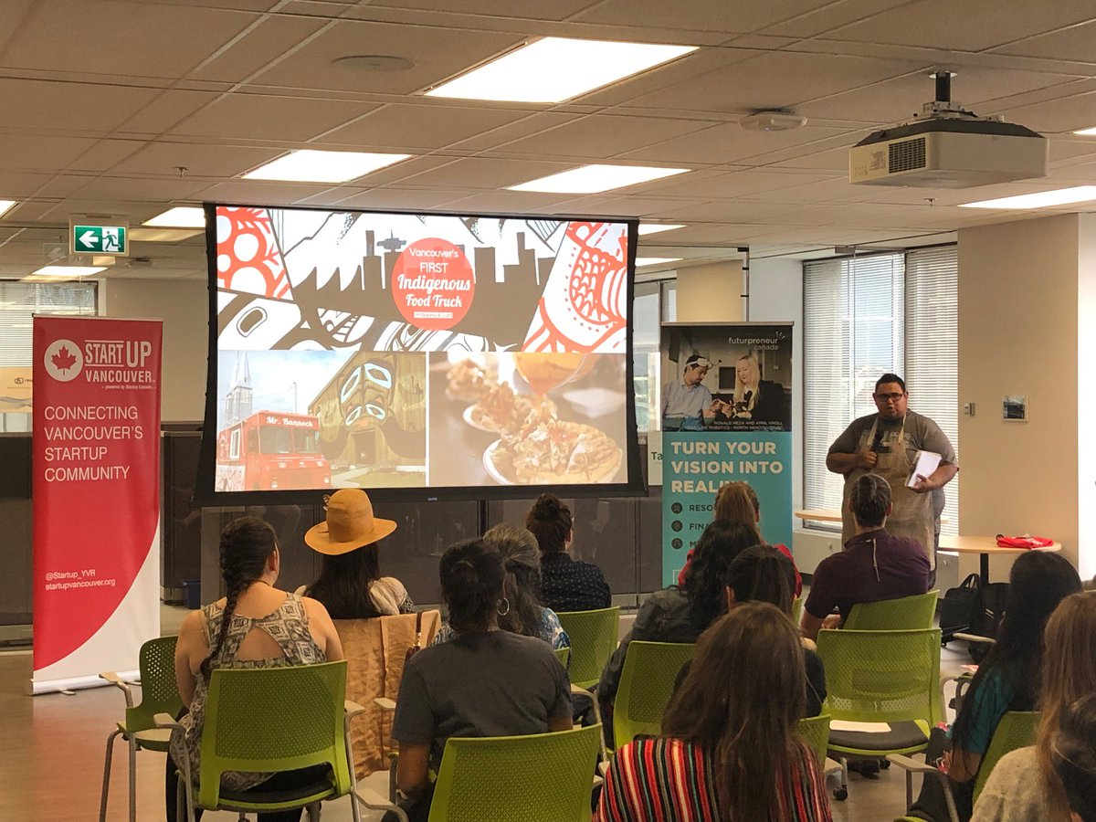 """On #NationalIndigenousPeoplesDay, we express thanks & gratitude to Elder Glida and the 7 amazing entrepreneurs for their knowledge sharing at our #VanStartupStories """"Celebrating Indigenous Entrepreneurs"""" event. Big thanks also to our partners @FuturpreneurBC & @FN_TechCouncil."""