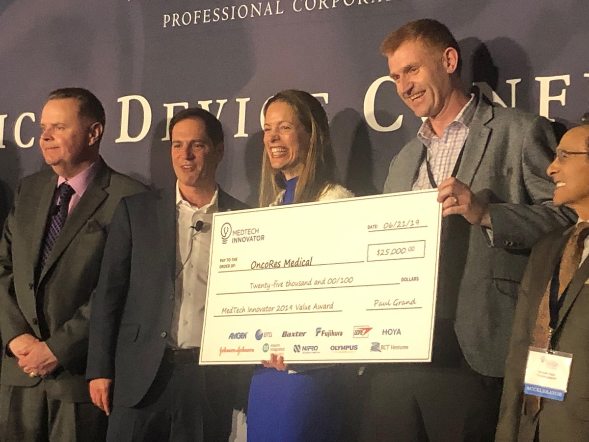 Congratulations to @OncoResMedical, winner of the $25,000 #MedTechInnovator Value Award by audience vote at @wilsonsonsini #MDC2019! <br>http://pic.twitter.com/ApkBSQDX1Z