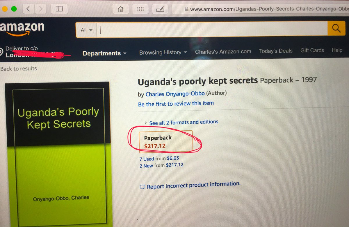 """Life has no shortage of strange twists. Wanted to buy copies of my book """"Uganda's Poorly Kept Secrets"""", so thought easiest to do it off Amazon. The thing was going for $217 - and there, you have it, I am too """"poor"""" to afford my own book!😭😭😭#UgandaPoorlyKeptSecrets"""