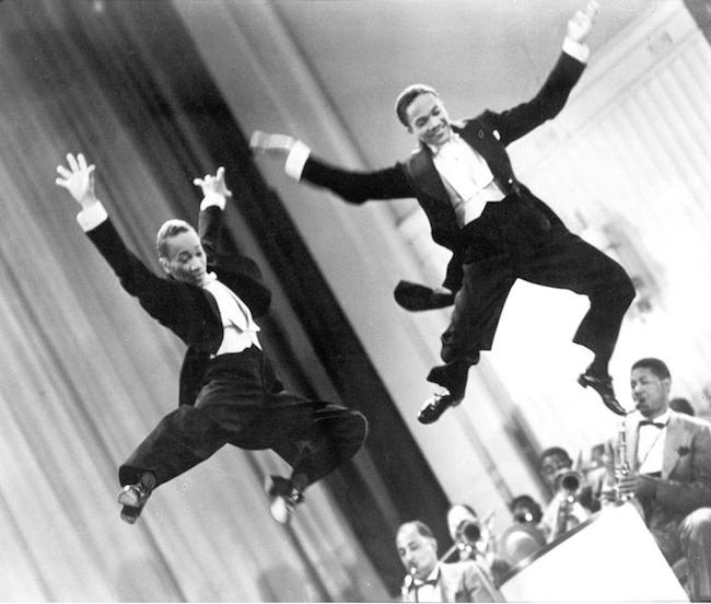 """File under """"High Points of Civilization"""": The Nicholas Brothers and Cab Calloway in """"Jumpin' Jive,"""" from 1943's Stormy Weather. (Said to be unrehearsed and captured on the first take!) https://bit.ly/2RtDNKW #nicholasbrothers #cabcalloway #stormyweather #dance"""