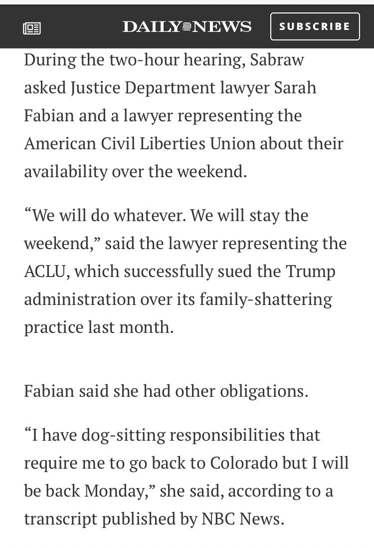 This is the same woman who told a judge she couldn't work over a weekend to reunite kids with their parents b/c she had a dog-sitting commitment!