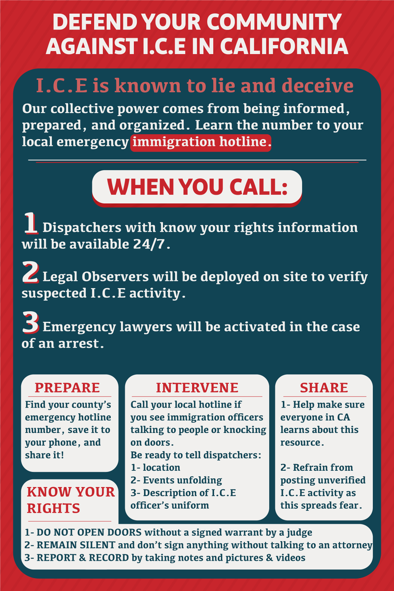 Help make sure everyone is informed & prepared. Learn the number for your local emergency immigration hotline & call if you see any I.C.E activity. Let's make sure everyone in CA knows about this resource! #PowerNotPanic #ImmigrationHotlines  #AbolishICE Artwork by Tareq Samman