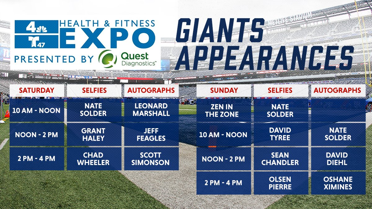Meet @soldernate and other #NYGiants at MetLife Stadium this weekend during the seventh annual @NBCNewYork & @Telemundo47 Health & Fitness Expo presented by @QuestDX.   DETAILS: https://bit.ly/2WPveuY