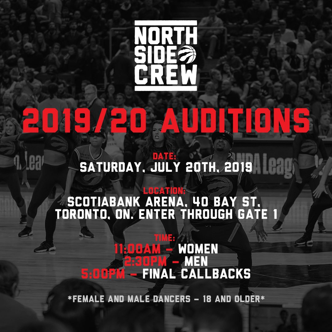 Want to join the Crew?? Open Auditions - Sat. Jul. 20th. @scotiabankarena Ladies - 11am / Men - 2:30pm. Check the link in our bio for full details!! #wethenorth #toronto #dance #auditions #wethechamps #nba