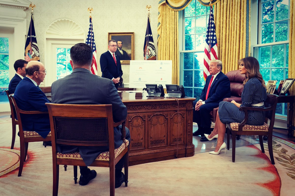 This afternoon @POTUS & I were briefed by @NOAA & @fema regarding the preparations the Administration is taking for the 2019 hurricane season. To be safe in any time of crisis listen to your local authorities and find shelter.