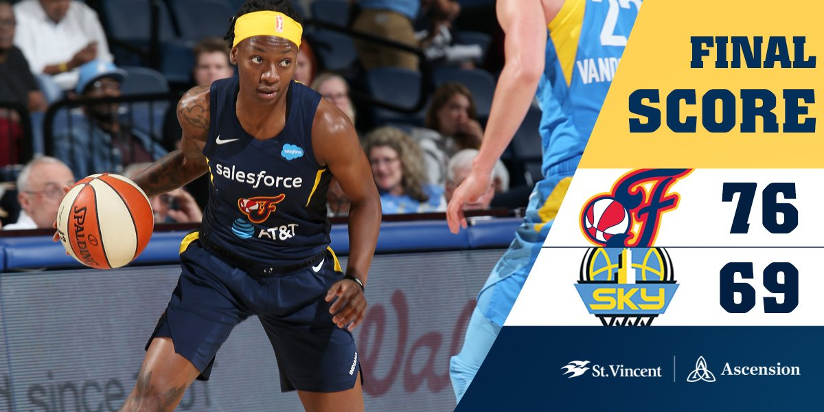 FINAL:  #Fever 7⃣6⃣, Sky 6⃣9⃣  Wheeler - 2⃣8⃣ points Dupree - 1⃣4⃣ points T. Mitchell - 1⃣3⃣ points McCowan - 1⃣0⃣ points and 1⃣3⃣ rebounds  #Fever20