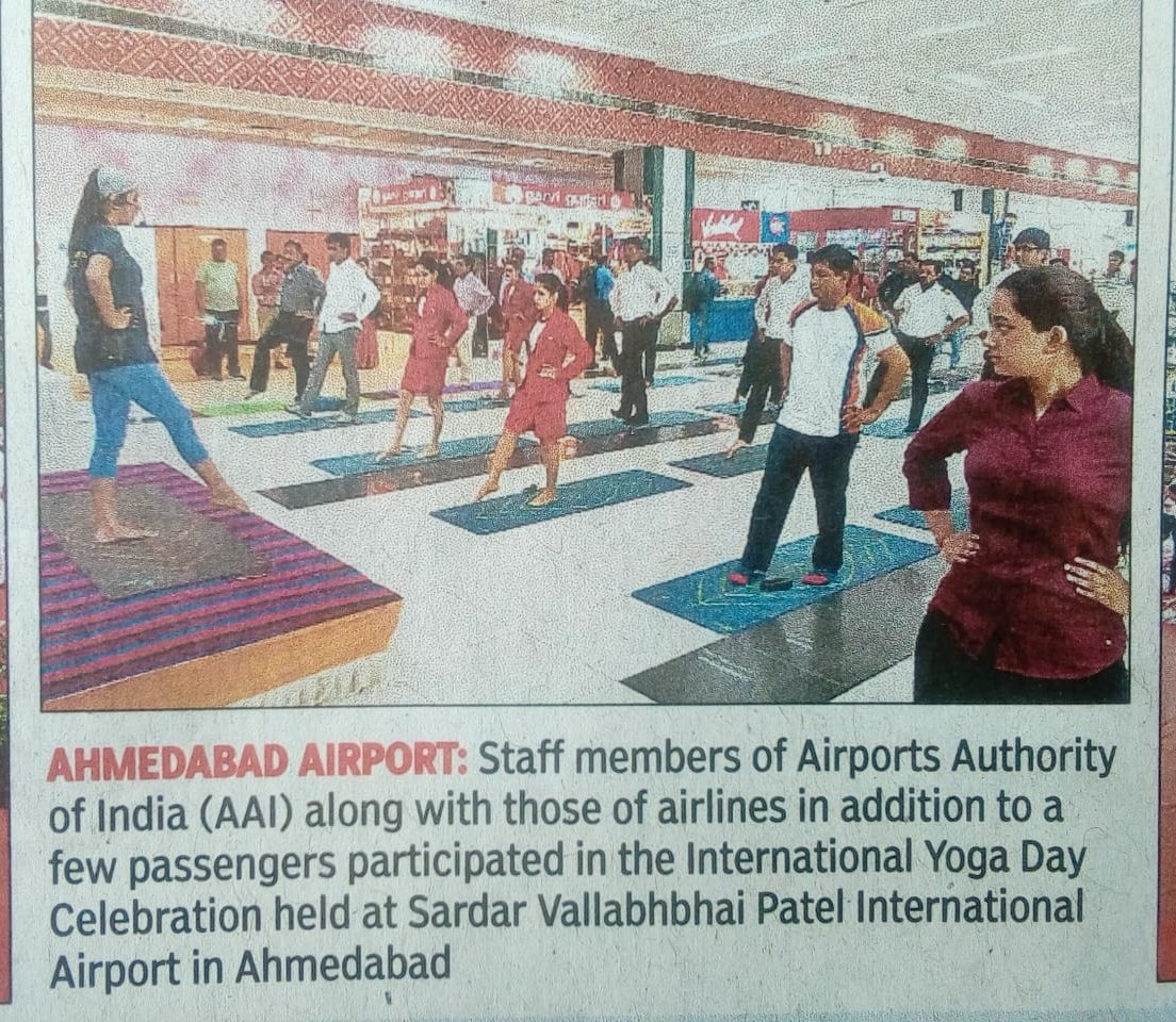World Yoga Day 2019 celebration at Ahmedabad Airport.