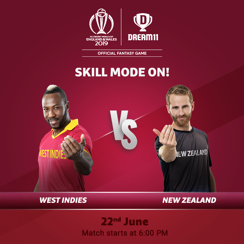 The Windies desperately need a win to stay alive in the tournament. Will they play like the 1975-1979 Champions today? Click here to make your #Dream11 for this game -  http://d11.co.in/WorldCup-2019    #YeGameHaiMahaan #CWC19 #WIvNZ