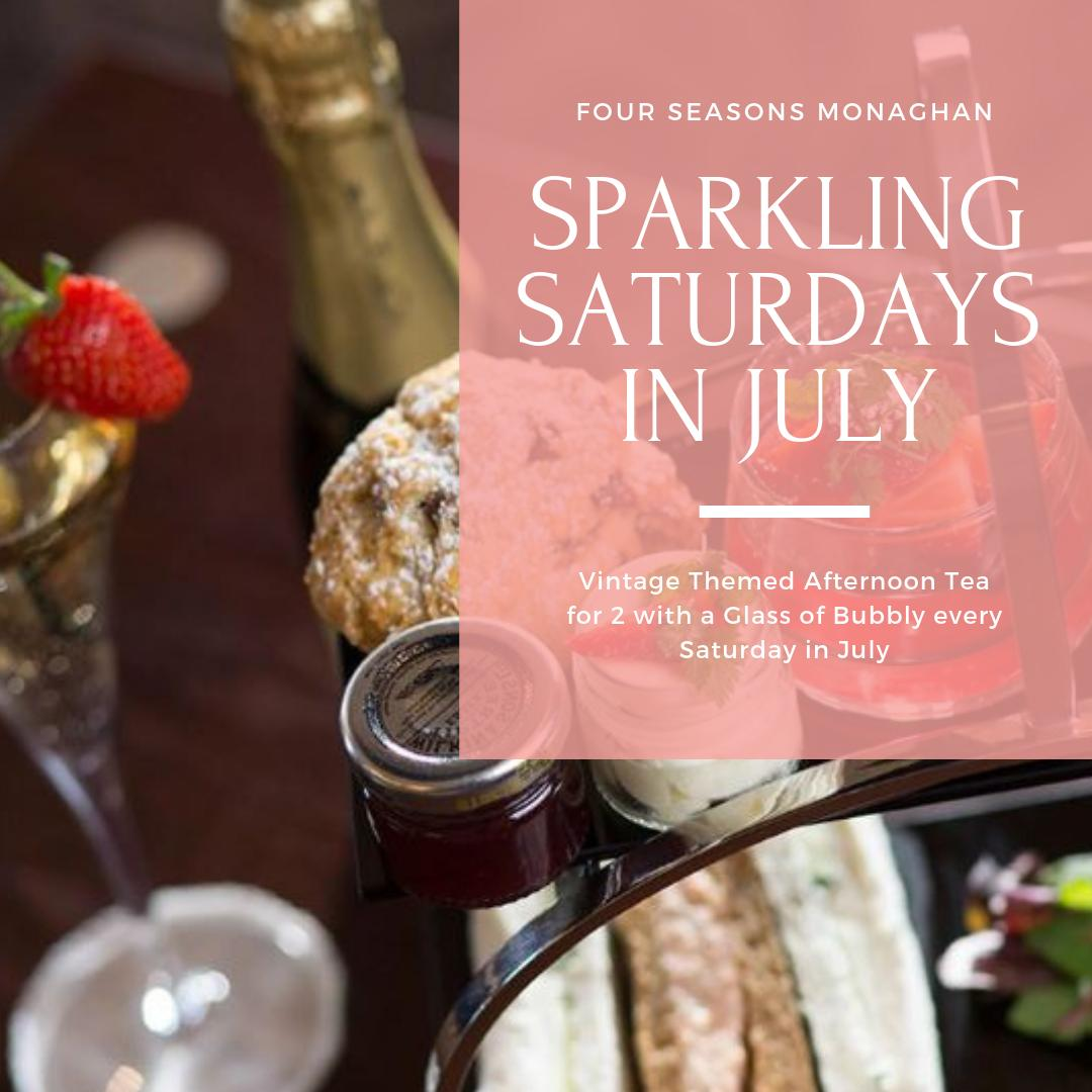 Sparkling Saturdays in July at Four Seasons Monaghan from €230 per couple. Vintage Themed Afternoon Tea for 2 with a Glass of Bubbly, Bed & Breakfast, Bottle of Bubbly and Handmade Chocolates in your room on arrival & complimentary use of our award winning leisure facilities. https://t.co/VIcenEKT6n