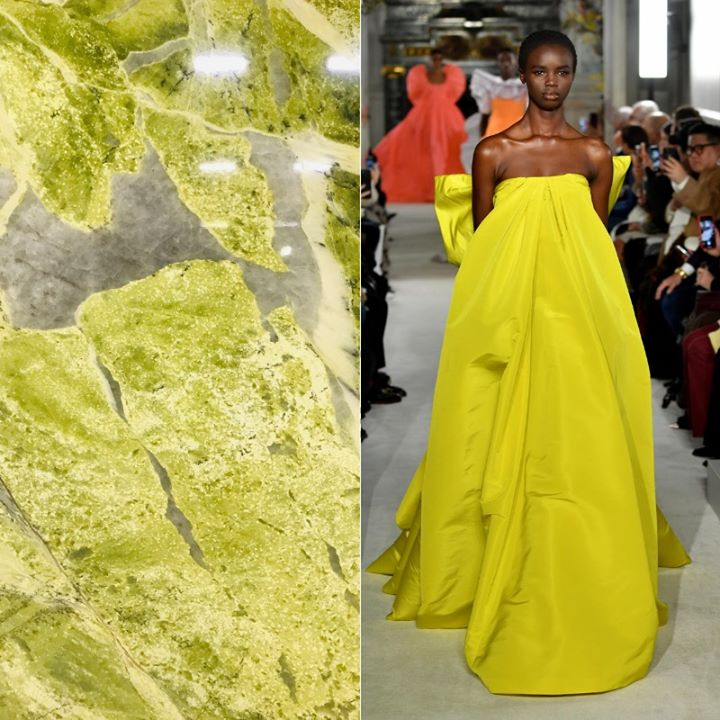 #FASHIONFRIDAY  Summer's here! Let's get out the brights and celebrate! This #Valentino gown has the most amazing lines and in the lime green color it sure does make an impression! The new #MingGreen #Marble is natures version!   @valentino https://t.co/S7dFVSNyAi