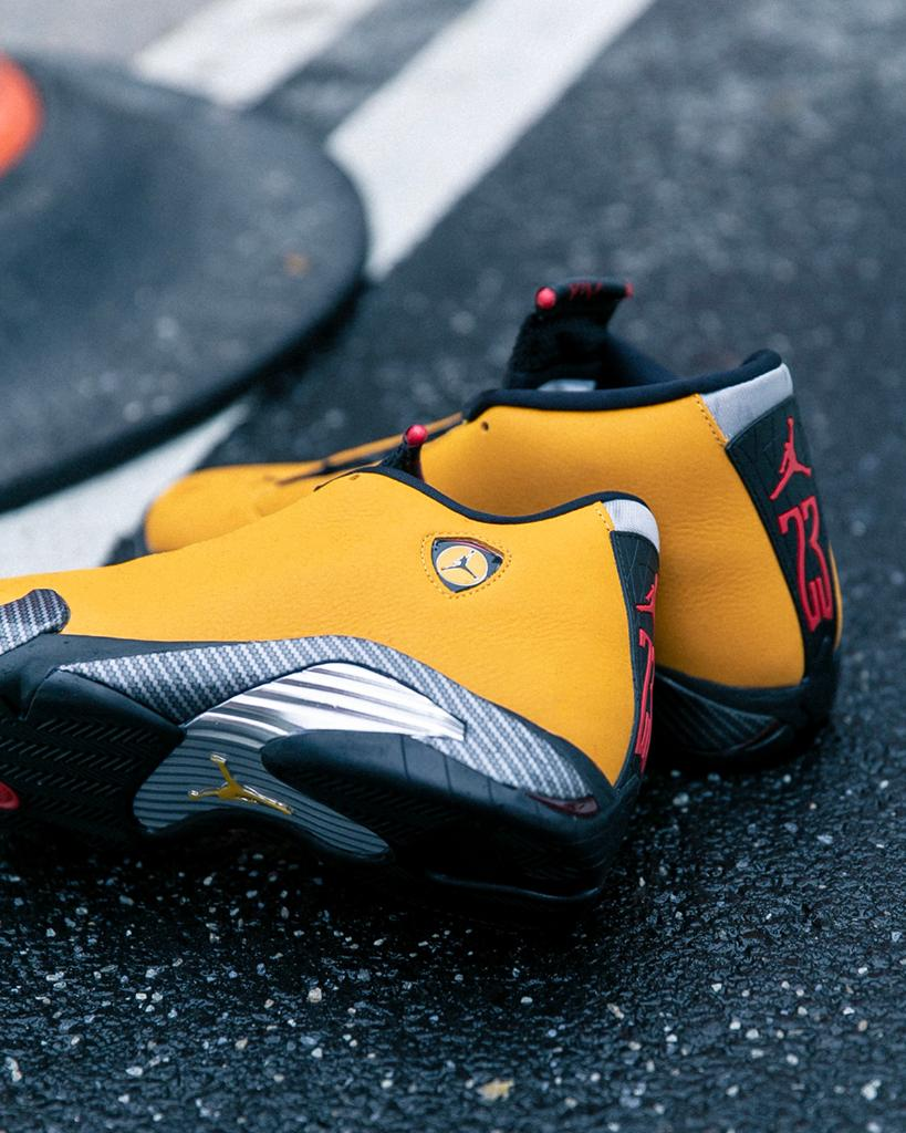 04c8c6de51d #Jordan Retro 14 'Yellow Ferrari' Available Now, In-Store and Online Men's  and Kids http://spr.ly/6014ESHGY pic.twitter.com/jEAf1b8TQE