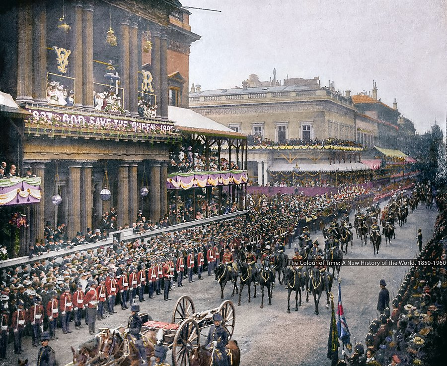 The 60-year reign of Queen Victoria, which was commemorated as the Diamond Jubilee of Queen Victoria was celebrated #OnThisDay in 1897. The procession followed a route six miles long through London and included troops from all over the empire.   - Photo colorized by me for TCOT. <br>http://pic.twitter.com/cKmaUFleRm