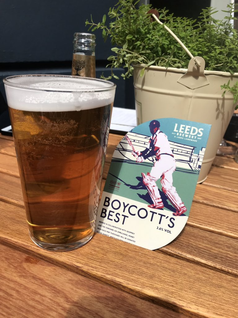 Cheers @GeoffreyBoycott Great beer and a great cause @YorkshireAirAmb