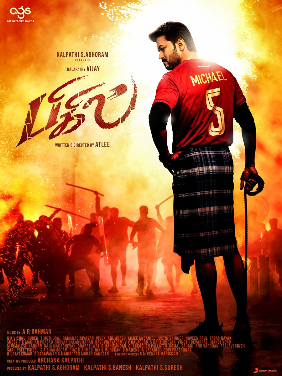 Michael will surely steal hearts. Here is an exclusive Look just for #Thalapathy fans who love him unconditionally ❤️ To all of us 😊 Kalpathi S Aghoram Proudly presents our #Thalapathy @actorvijay as #BIGIL #HBDEminentVijay @Atlee_dir @arrahman #Nayan