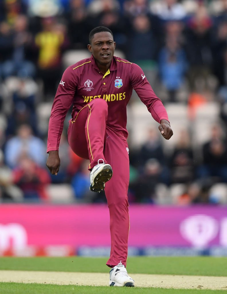 🌴v 🇳🇿 FIRST. BALL. WICKET.Cottrell is in the action!#WIVNZ #MenInMaroon #CWC19