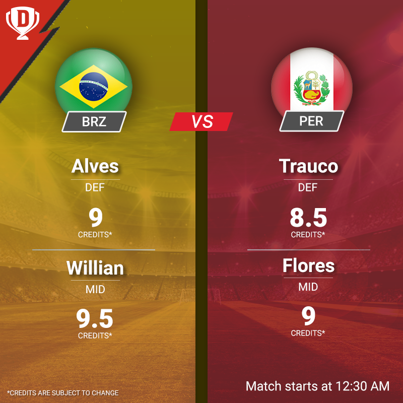 Saturday night is sorted! The 8-time #CopaAmerica champions Brazil takes on 2-time champions Peru. Click here to make your #Dream11 - http://d11.co.in/CopaAmerica