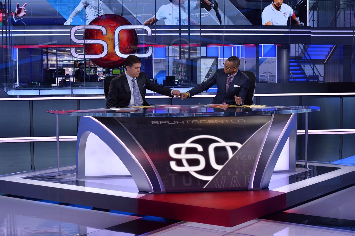 Five years ago today: @espnSteveLevy and @StuartScott w/ a pre-show fist bump before the very first SportsCenter in our new digital center when it opened #OTD in 2014. 👊🏽