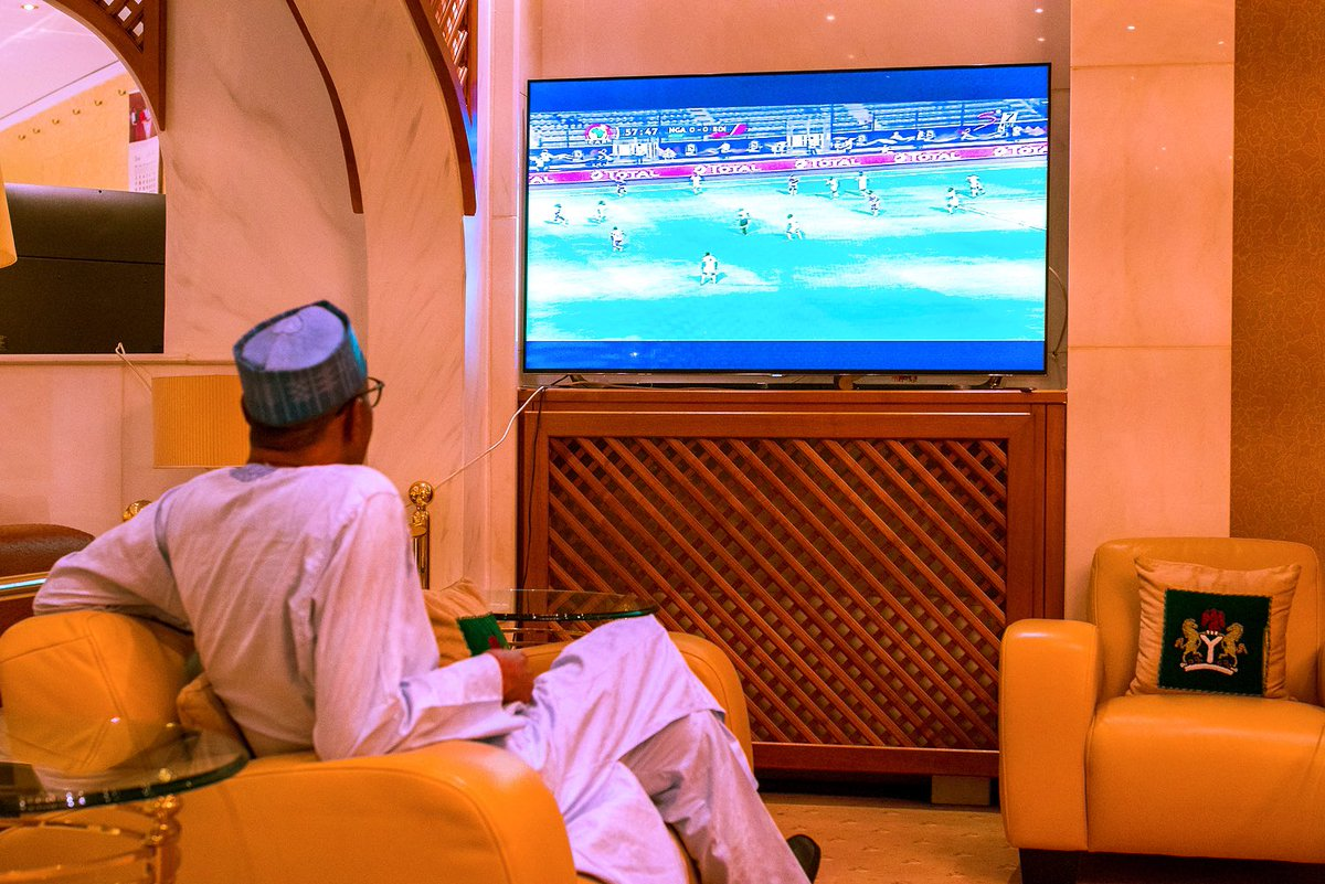 D9r DTYW4AA0aBH - Egypt 2019: Photo Of President Muhammadu Buhari Watching The Super Eagles Of Nigeria Take On Their Opponent