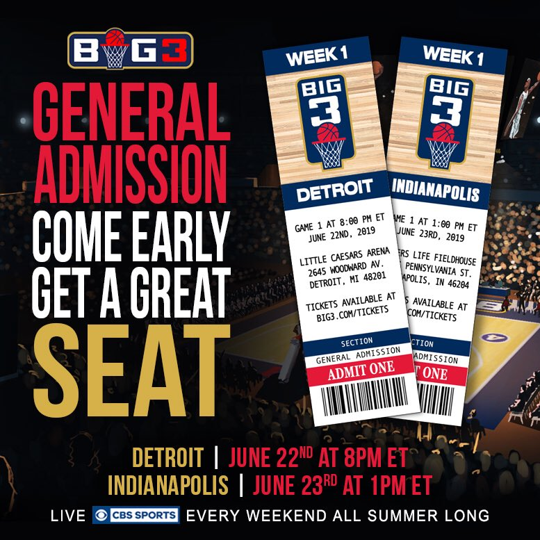 First come, first serve GA seats! Get there early! Doors open at 6pm. Game 1 starts at 8pm. big3/tickets.com