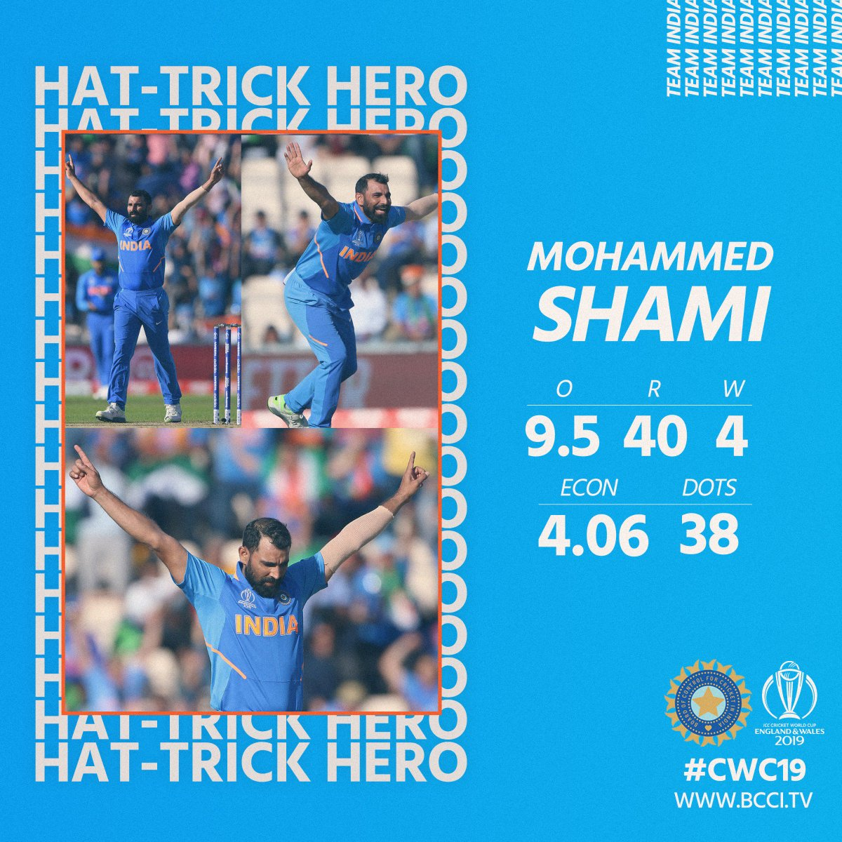 A big shout out for our Hat-trick Hero @MdShami11 - striking timber when it mattered the most - you Champ! #TeamIndia #INDvAFG #CWC19