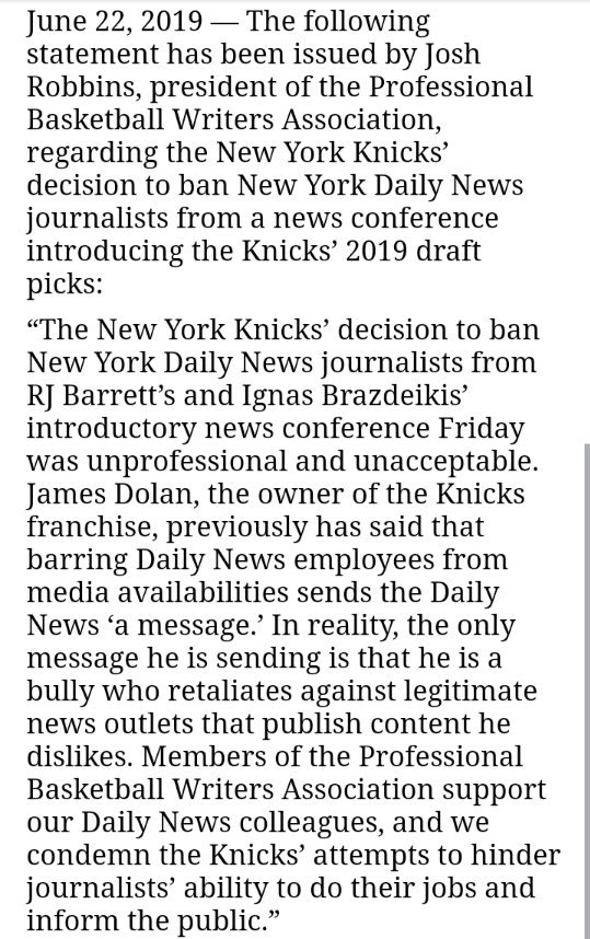 The Professional Basketball Writers Association released a statement about the Knicks once again barring the NY Daily News from a media availability, this time keeping the paper out from the RJ Barrett/Ignas Brazdeikis introductory press conference yesterday.