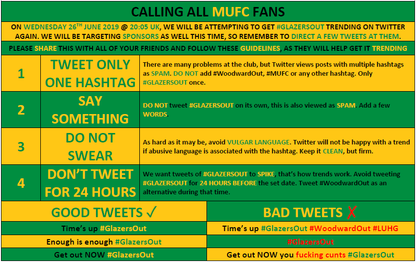 Please RT, share and tag your mates. Tweet #GlazersOut this Wednesday June 26th @ 20:05 UK. It worked last week, we're trying again this week and will try again every Wednesday until they're gone. Try to follow these guidelines: https://t.co/z5QRQC5fp8